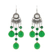 Jeweljunk Rhodium Plated Green Thread Earrings