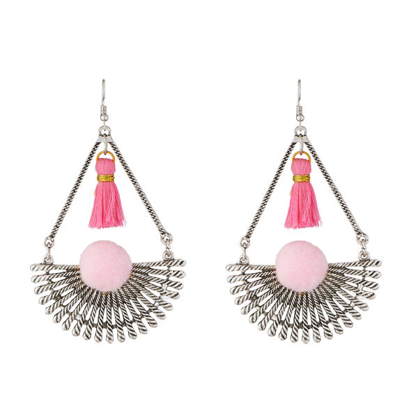 Jeweljunk Rhodium Plated Pink Thread Earrings