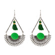 Jeweljunk Green Thread Rhodium Plated Earrings