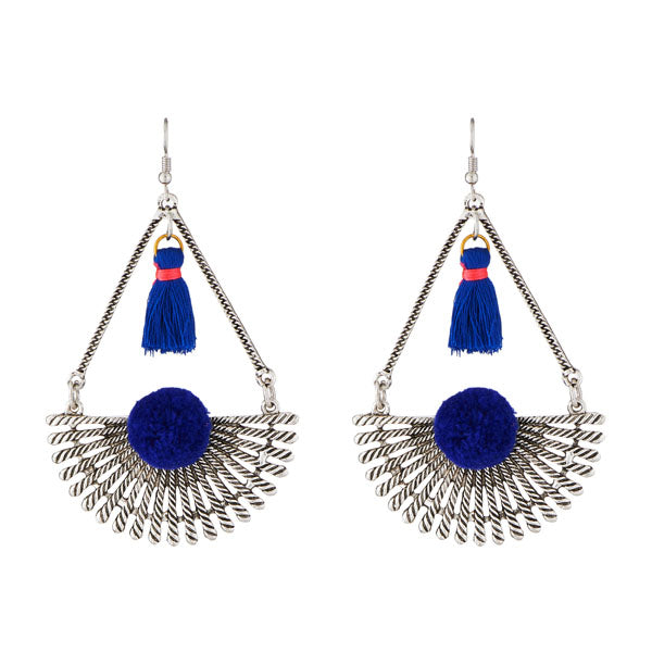 Jeweljunk Blue Thread Rhodium Plated Earrings