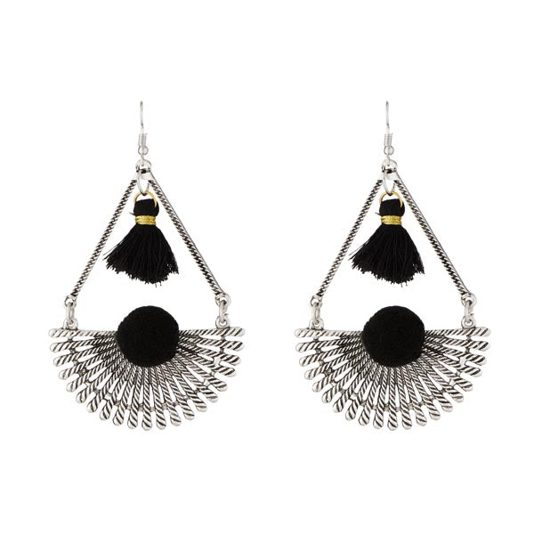 Jeweljunk Rhodium Plated Black Thread Earrings