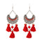 Jeweljunk Rhodium Plated Maroon Beads Thread Earrings