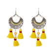 Jeweljunk Yellow Beads Rhodium Plated Thread Earrings