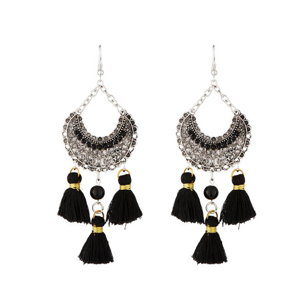 Jeweljunk Rhodium Plated Black Beads Thread Earrings