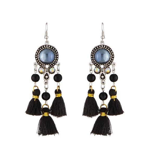 Jeweljunk Black Beads Rhodium Plated Thread Earrings