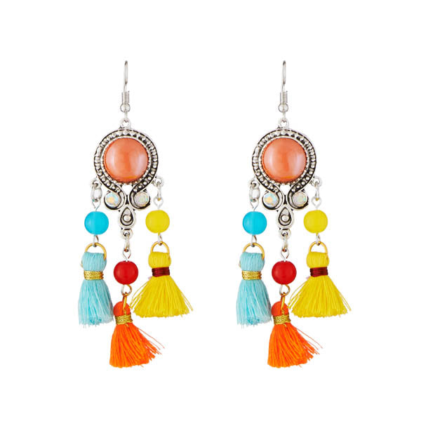 Jeweljunk Rhodium Plated Multicolour Thread Earrings