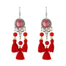 Jeweljunk Maroon Beads Rhodium Plated Thread Earrings