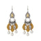 Jeweljunk Leaf Design Rhodium Plated Thread Earrings