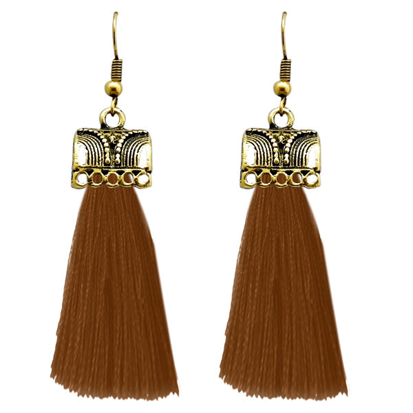 Jeweljunk Brown Thread Gold Plated Earrings