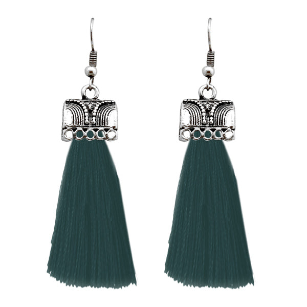 Jeweljunk Green Thread Silver Plated Earrings