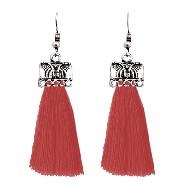 Jeweljunk Maroon Silver Plated Thread Earrings