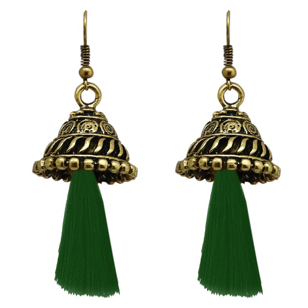 Jeweljunk Antique Gold Plated Green Thread Earrings