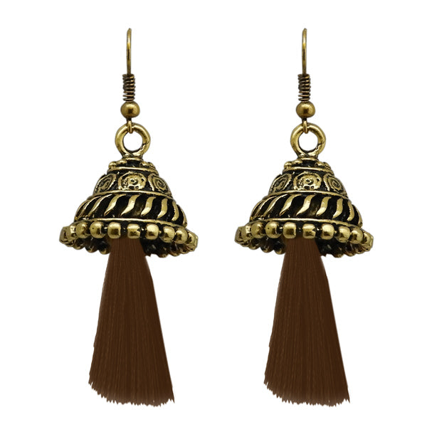 Jeweljunk Antique Gold Plated Brown Thread Earrings