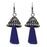 Jeweljunk Blue Rhodium Plated Thread Earrings