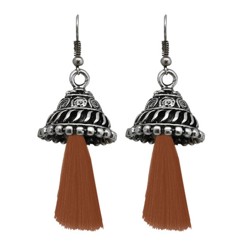 Jeweljunk Brown Thread Rhodium Plated Earrings