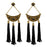 Jeweljunk Black Stone Antique Gold Thread Earrings