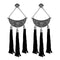 Jeweljunk Rhodium Plated Stone Thread Earrings