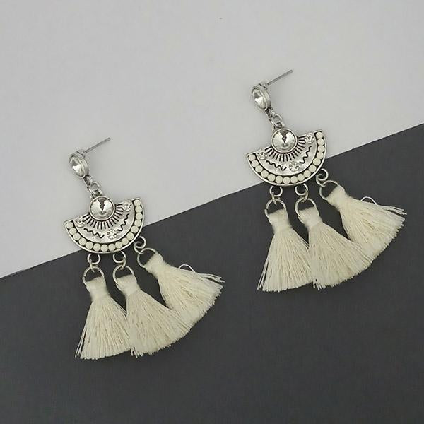 Jeweljunk White Austrian Stone Thread Earrings - 1312320F