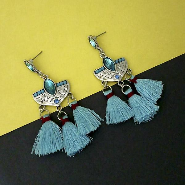 Jeweljunk Blue Austrian Stone Thread Earrings - 1312321A