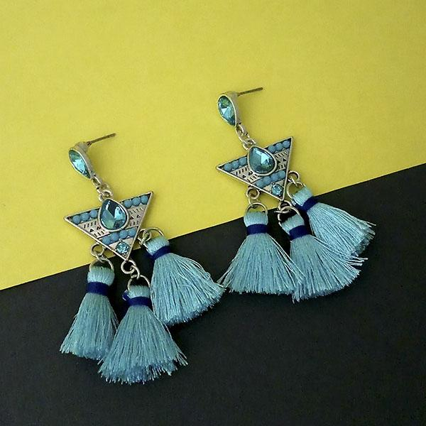 Jeweljunk Blue Austrian Stone Thread Earrings - 1312322A