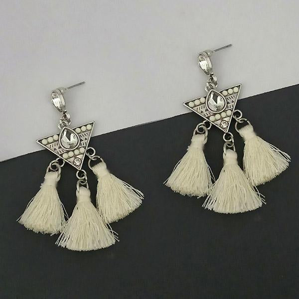 Jeweljunk White Austrian Stone Thread Earrings - 1312322F