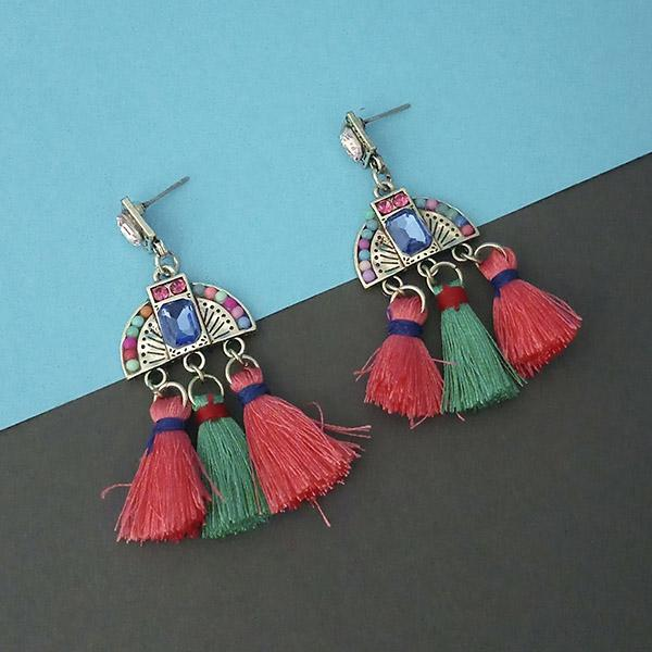 Jeweljunk Multi Austrian Stone Thread Earrings - 1312323D