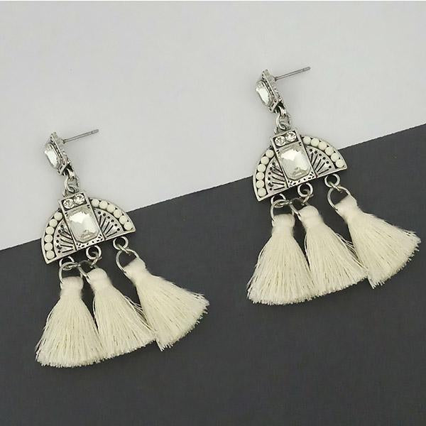Jeweljunk White Austrian Stone Thread Earrings - 1312323F