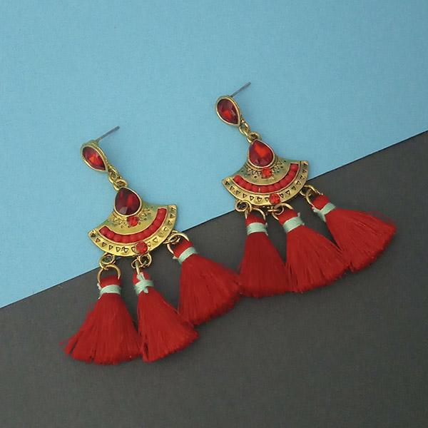 Jeweljunk Red Austrian Stone Thread Earrings - 1312324B