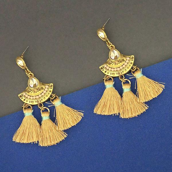 Jeweljunk Yellow Austrian Stone Thread Earrings - 1312324C