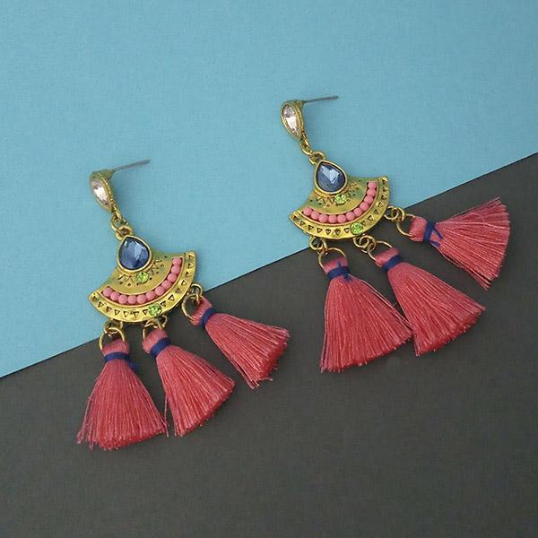 Jeweljunk Multi Austrian Stone Thread Earrings - 1312324D