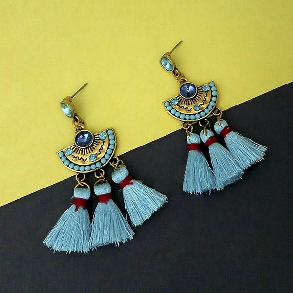 Jeweljunk Blue Austrian Stone Thread Earrings - 1312325A