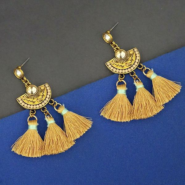 Jeweljunk Yellow Austrian Stone Thread Earrings - 1312325C