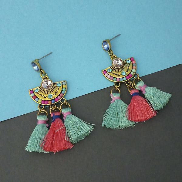 Jeweljunk Multi Austrian Stone Thread Earrings - 1312325D