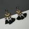 Jeweljunk Black Austrian Stone Thread Earrings - 1312325E