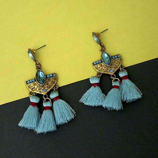 Jeweljunk Blue Austrian Stone Thread Earrings - 1312326A