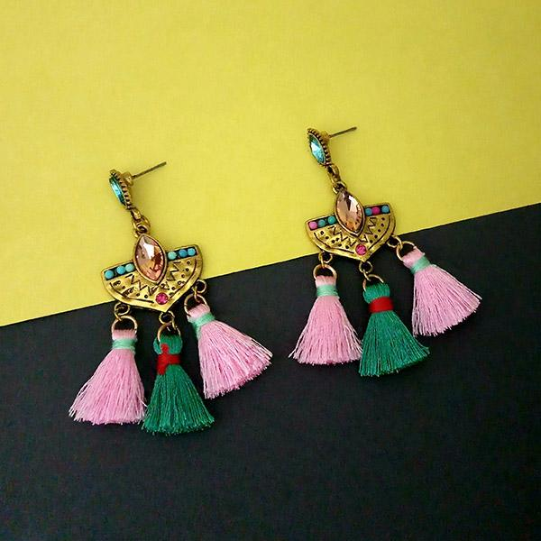 Jeweljunk Multi Austrian Stone Thread Earrings - 1312326D