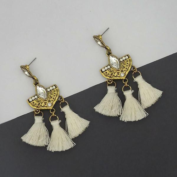 Jeweljunk White Austrian Stone Thread Earrings - 1312326F