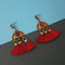 Jeweljunk Red Austrian Stone Thread Earrings - 1312327B