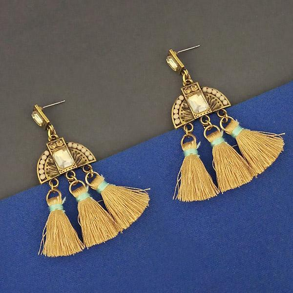 Jeweljunk Yellow Austrian Stone Thread Earrings - 1312327C