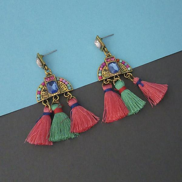 Jeweljunk Multi Austrian Stone Thread Earrings - 1312327D