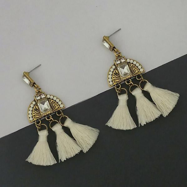 Jeweljunk White Austrian Stone Thread Earrings - 1312327F