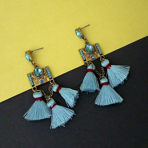 Jeweljunk Blue Austrian Stone Thread Earrings - 1312328A