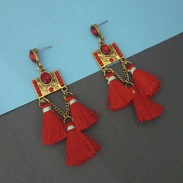 Jeweljunk Red Austrian Stone Thread Earrings - 1312328B