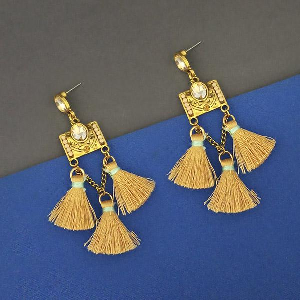 Jeweljunk Yellow Austrian Stone Thread Earrings - 1312328C