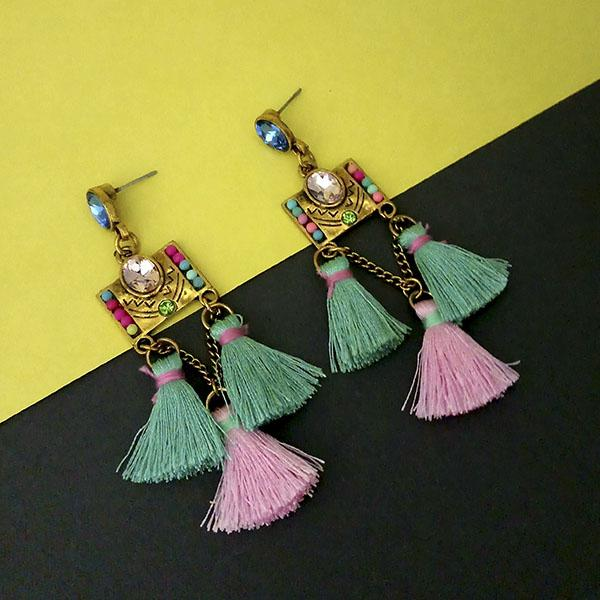 Jeweljunk Multi Austrian Stone Thread Earrings - 1312328D
