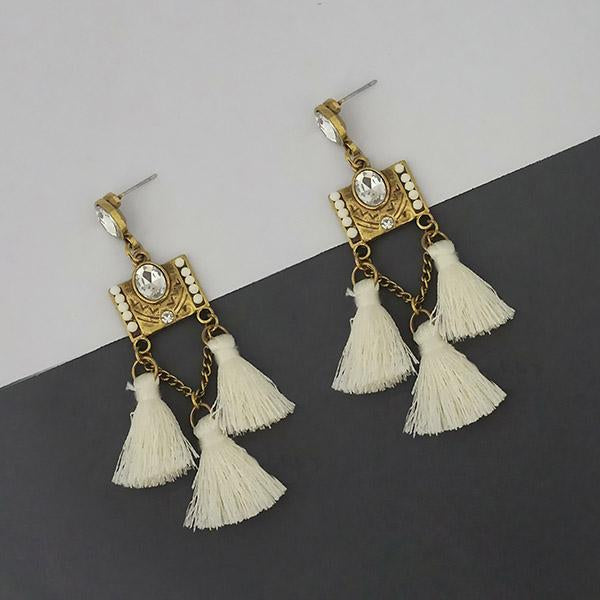 Jeweljunk White Austrian Stone Thread Earrings - 1312328F