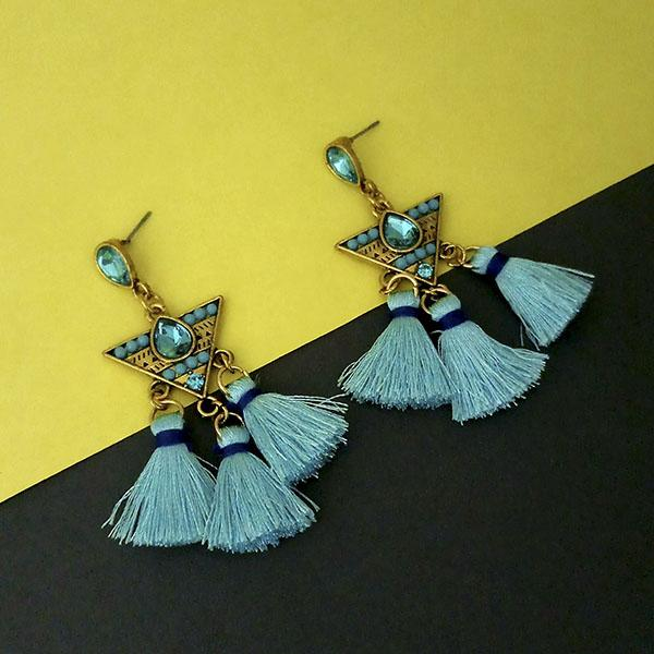 Jeweljunk Blue Austrian Stone Thread Earrings - 1312329A