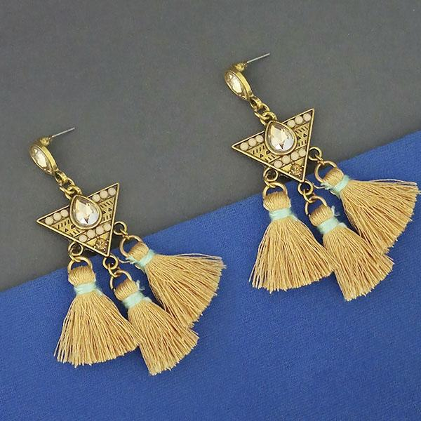 Jeweljunk Yellow Austrian Stone Thread Earrings - 1312329C