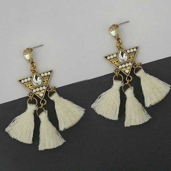 Jeweljunk White Austrian Stone Thread Earrings - 1312329F