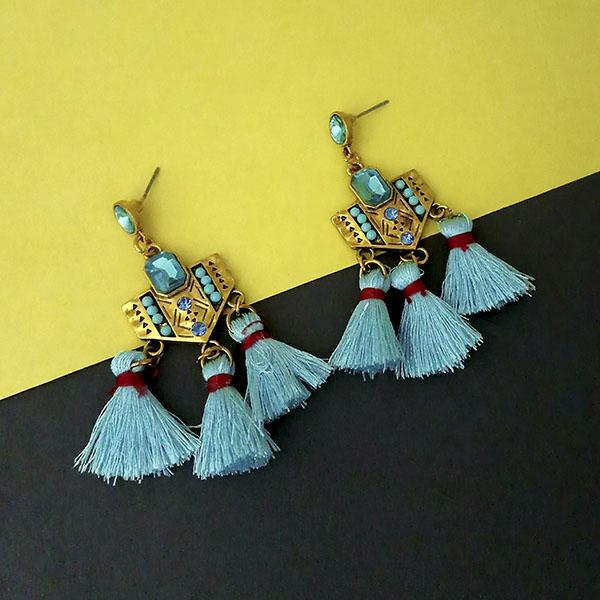 Jeweljunk Blue Austrian Stone Thread Earrings - 1312330A